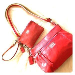 COACH poppy crossbody & matching wristlet leather